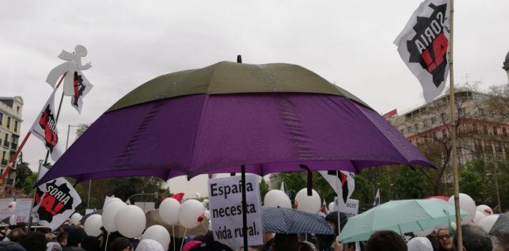 Un paraguas abierto bajo la lluvia durante la manifestación. /AS