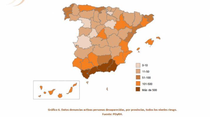 Mapa de las desapariciones en España. /MI