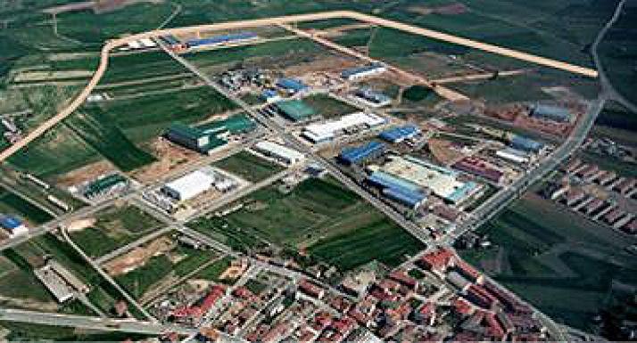Imagen aérea del polígono industrial La Loma, en Ólvega.