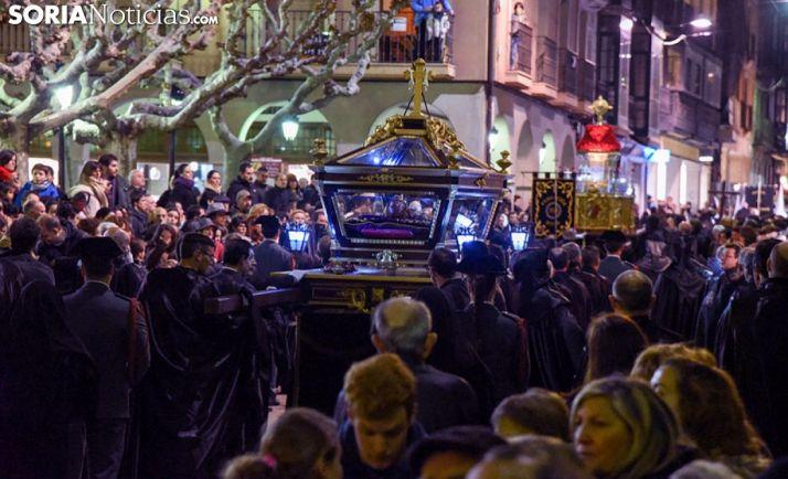 Una imagen procesional de Semana Santa en la capital soriana. /SN