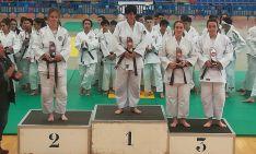 La judoka, en el tercer cajón del podio.