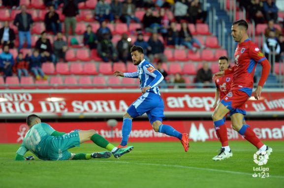 Primer gol del Deportivo en Soria. LFP