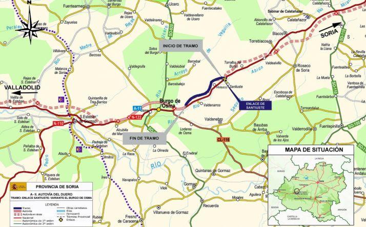 Mapa con la localización del tramo. /MF