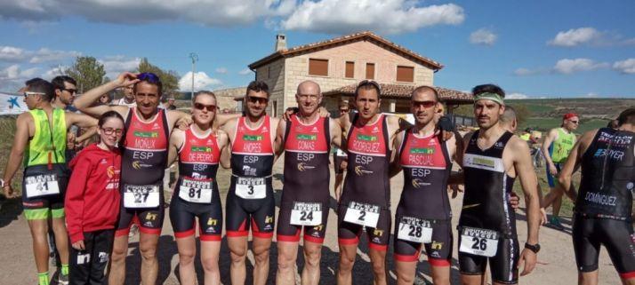 Expedición soriana en el Campeonato de Castilla y León de duatlón cross celebrado en Sasamón. Triatlón Soriano