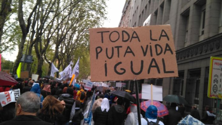 Uno de los carteles que se pudo ver durante la manifestación de Madrid.