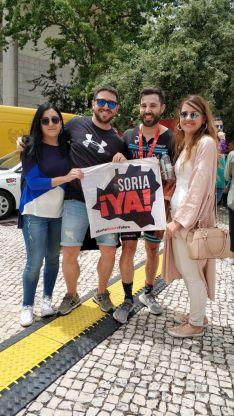 En Lisboa se visibilizó la causa soriana con la forma de la bandera de la Soria Ya.