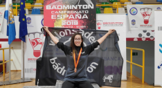 Carmen Carro en el podium de Pontevedra.