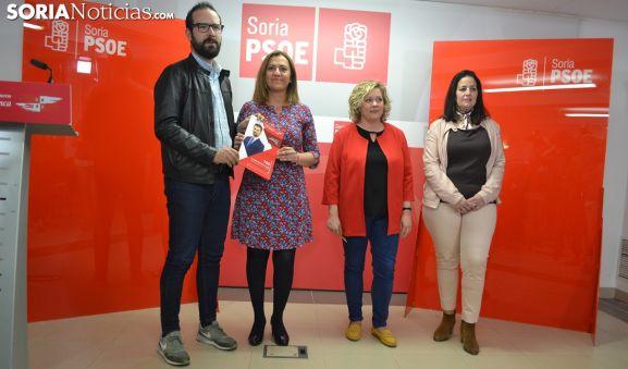 Hernández, Barcones, Villar y Antón esta tarde de lunes en la sede del PSOE soriano. /SN