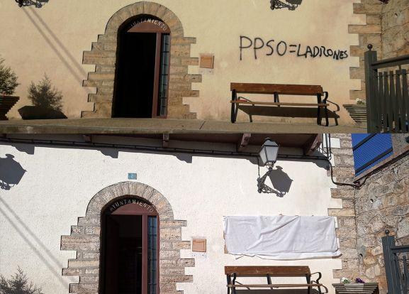 Pintadas en el ayuntamiento de Cabrejas del Pinar.