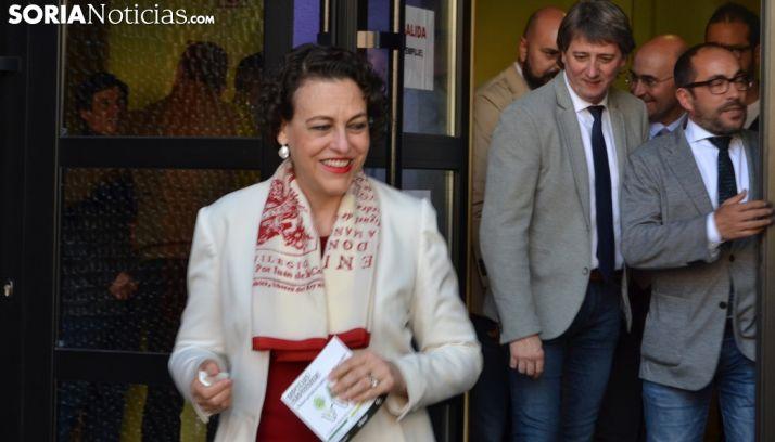 Magdalena Valerio, antes de su comparecencia ante los medios informativos sorianos. /SN