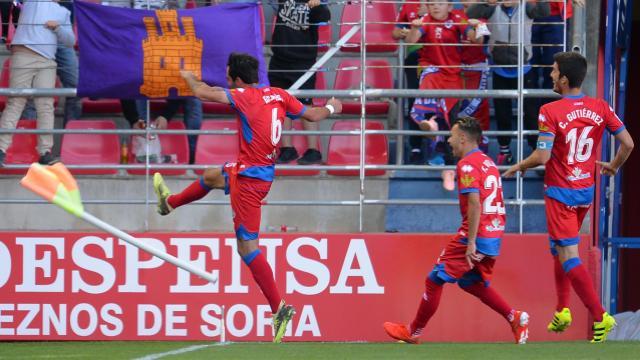 Escassi celebra con rabia el 2-0 en Soria. LaLiga