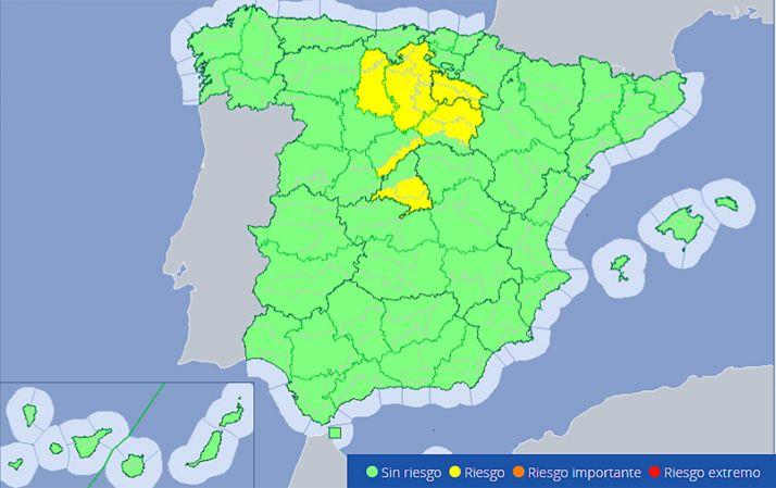 Zonas con riesgo de tormentas y lluvias a partir de esta tarde, según la Aemet.