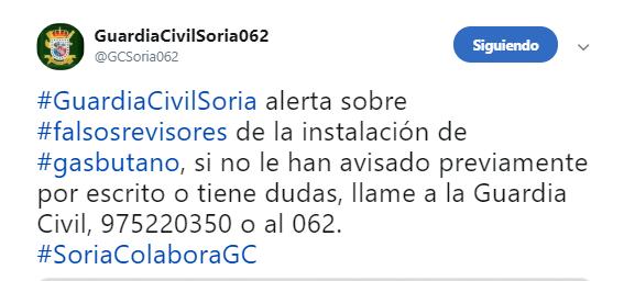 Foto 1 - La Guardia Civil de Soria alerta sobre la proliferación de estafas relacionadas con el gas butano