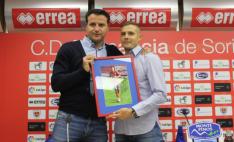 César Palacios junto a Adrián Ripa. /CD Numancia
