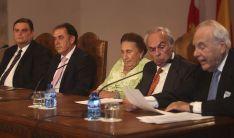 Benjumea, en su intervención junto a los Duques de Soria, el presidente de la Diputación y el vicerrector del Campus. /SN