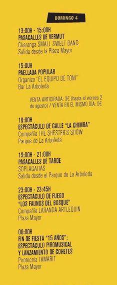 El calendario de actividades