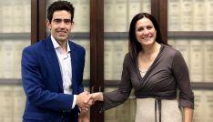 Laura Carrera, de la empresa floral y Sergio Cabrerizo, de Soria Futuro.