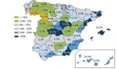 Mapa con la tasa de de variacón poblacional 2000-2018