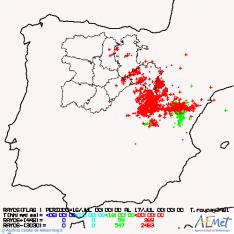 Mapa con la distribución de los rayos en las últimas horas.
