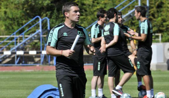 Luis Carrión, este viernes en el entrenamiento matinal de Los Pajaritos. /CDN