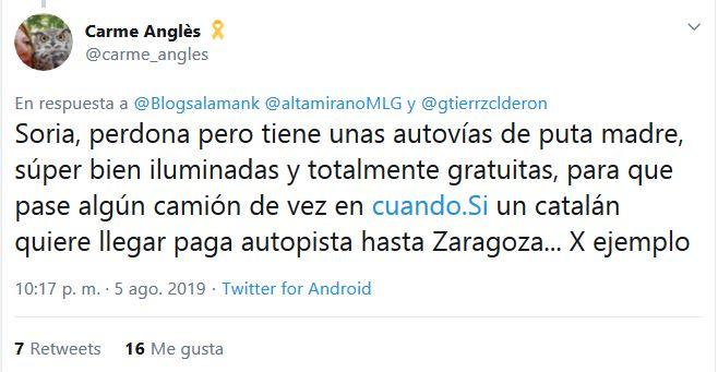 Las virales respuestas a una independentista ofendida por las 'autovías de puta madre' de Soria