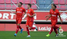 Los jugadores celebran el gol del Numancia
