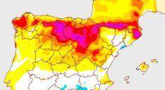 Mapa de la AEMET con las mayores variaciones de temperatura.