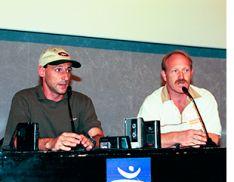Fermín Cacho y Enrique Pascual Oliva en una conferencia de prensa.