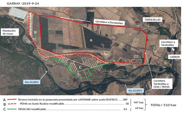Foto aérea de la distribución de los terrenos