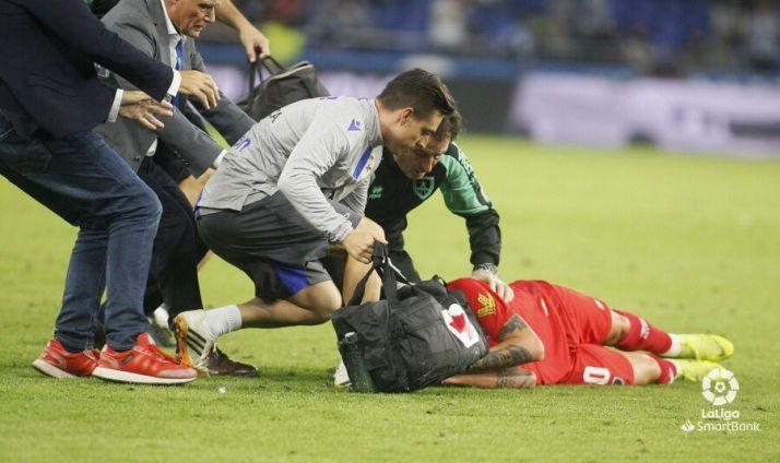 Foto 1 - Alain Oyarzun recibe el alta tras pasar la noche ingresado por un traumatismo craneal