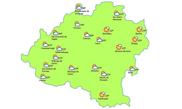 El mapa a las 15:00 h. /eltiempo.es