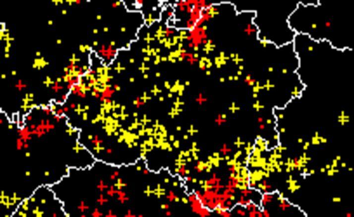 Mapa de la provincia con las descargas de esta noche. /Aemet