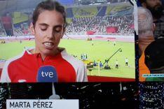 Marta Pérez, en zona mixta.