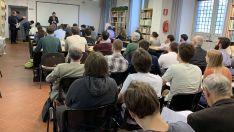 Una imagen de la conferencia de Amalio de Marichalar en Roma.
