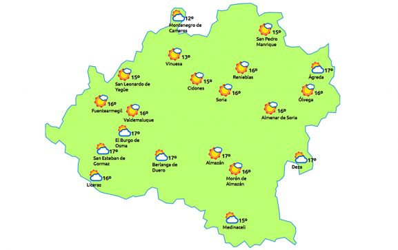 El pronóstico a las 15:00 horas. /eltiempo.es