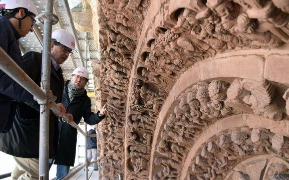 Labores de restauración de la iglesia de Santo Domingo el pasado año. /Jta.