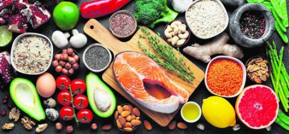Conjunto de alimentos. Comida sana.