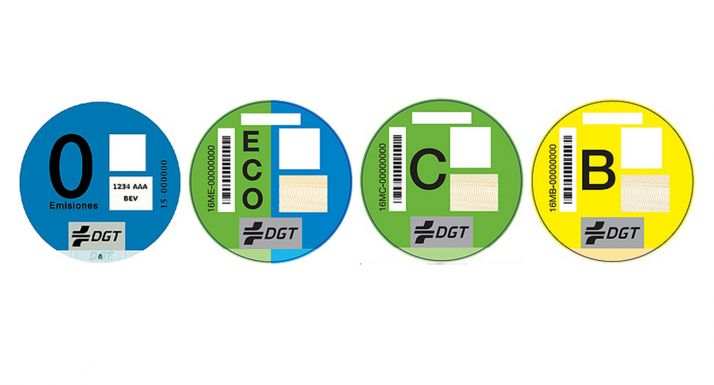 Distintivos ambientales de la DGT.