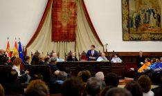 Una imagen de la intervención del presidente autonómico en Salamanca. /Jta.
