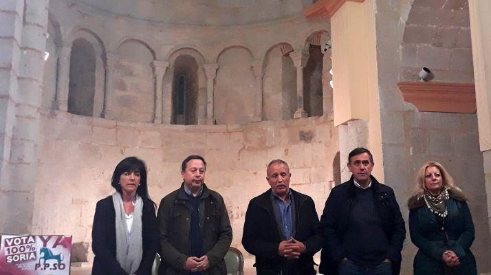 Los candidatos de la PPSO este martes en Almazán.