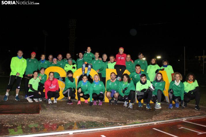 Corredores y corredoras que forman parte del grupo que gestionan Estela Navascués y Edurne Orte. /Soria Noticias