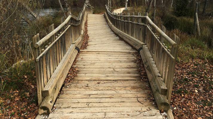 Imagen del estado de una de las pasarelas sobre el río.