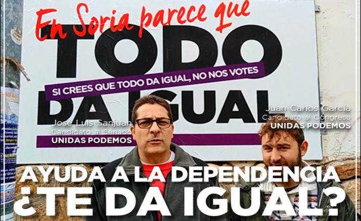 Sanjuán y García con el lema de la jornada previa al 10-N.
