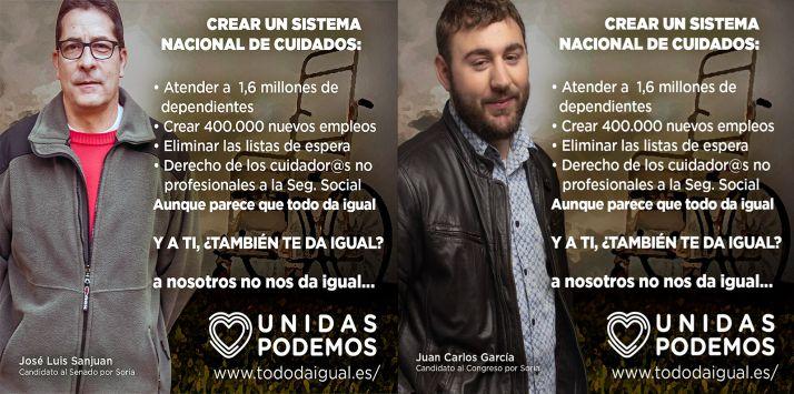 Los lemas de UP Soria para esta jornada electoral de jueves.