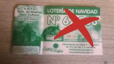Boleto con el número (tachado) no correspondiente al jugado. /SN