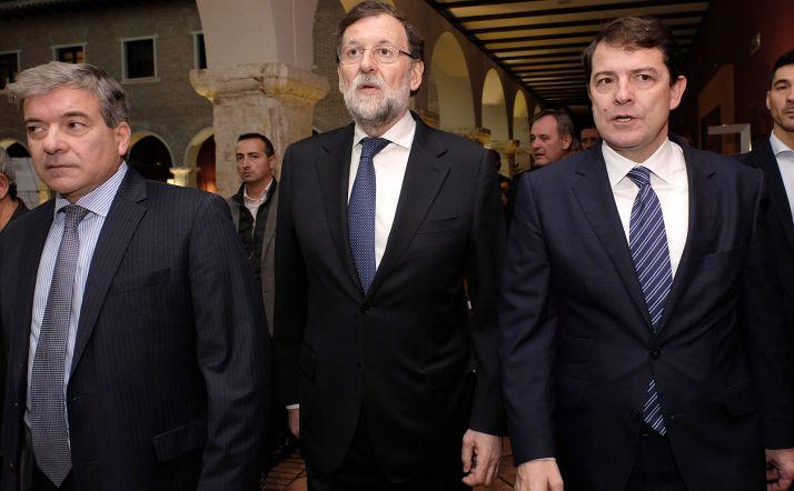 Mañueco (dcha.) y Rajoy este viernes en Valladolid. /Jta.