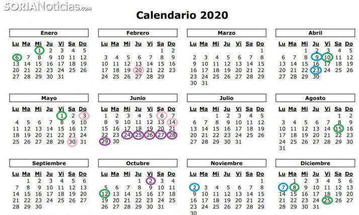 Calendario festivo 2020.