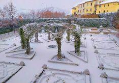 El jardín renacentista del Palacio de los Castejones, en Ágreda, este martes.