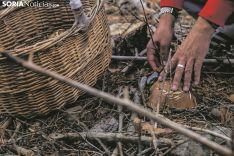 Un turista recoge un ejemplar de boletus edulis.