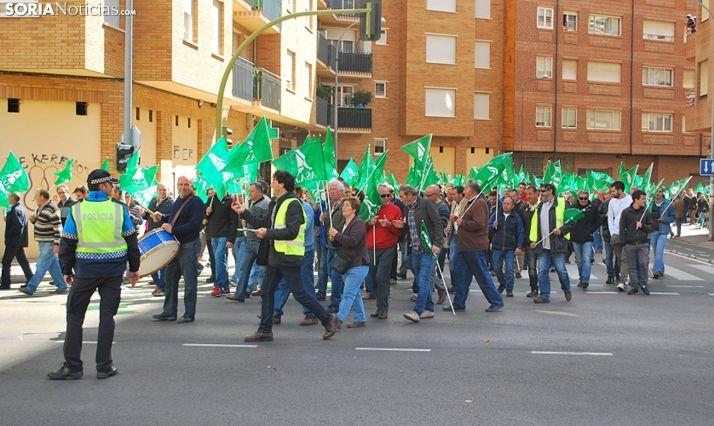 Una manifestación de agricultores y ganaderos en la capital. /SN